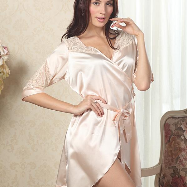 Women Luxury Lace Deep V Sleepwear Robes Faux Silk Sexy Female Nightgown