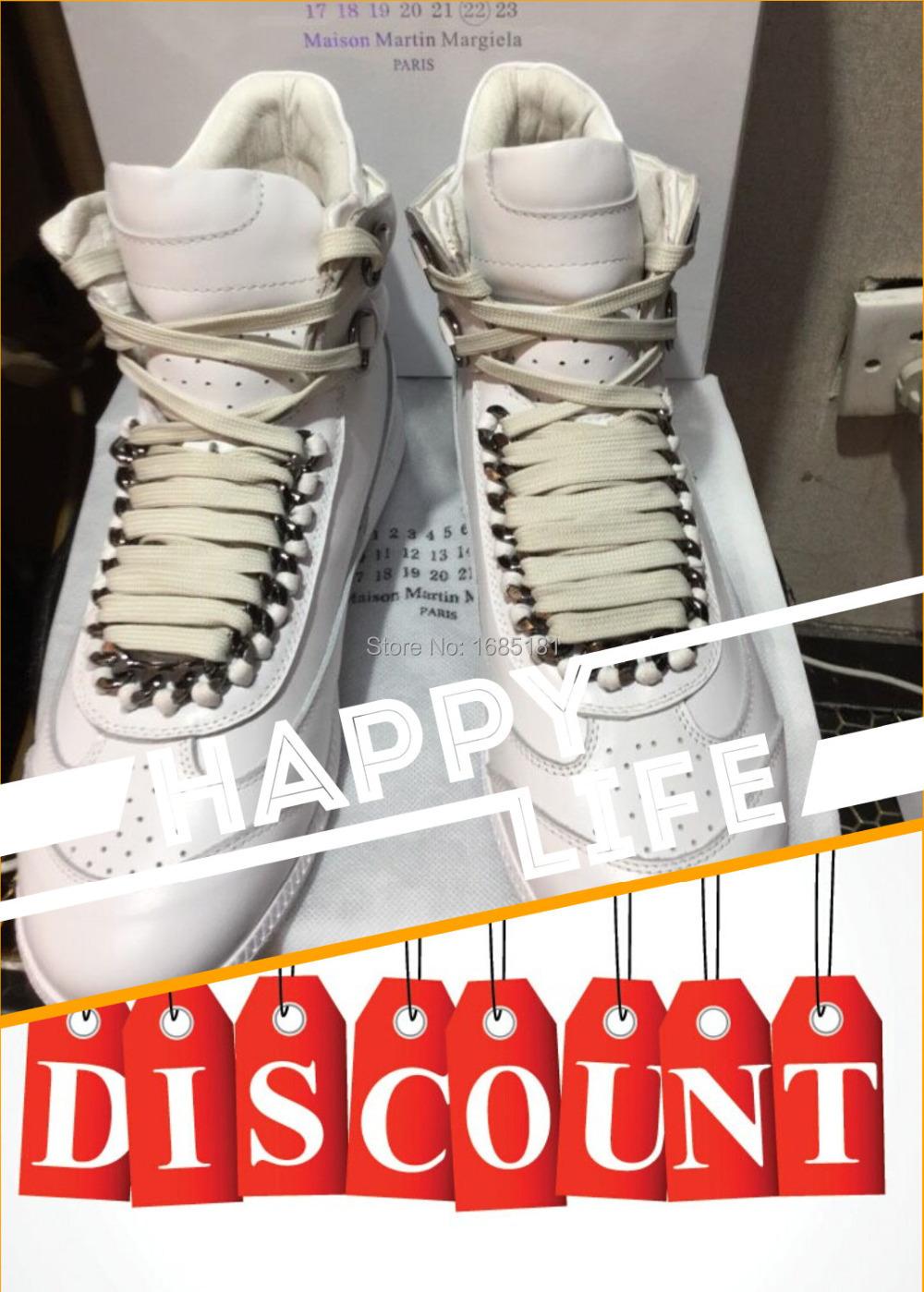 2016 New maison martin margiela casual shoes lace-up White genuine Leather Fashion Men's Shoes eu 39-45 - direct sale store