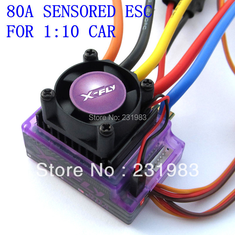 rc car accessories sensored brushless ESC 80A 1/10th - Shenzhen X-fly Technology Co., Ltd store