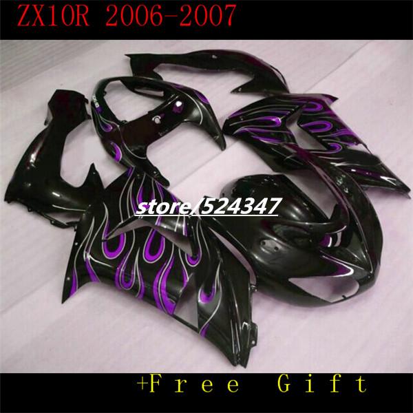 Market hot sales manufacturers Ninja ZX10R 2006 2007 kawasaki Ninja ZX10R 06-07 smooth ink black motorcycle fairing purple flame(China (Mainland))