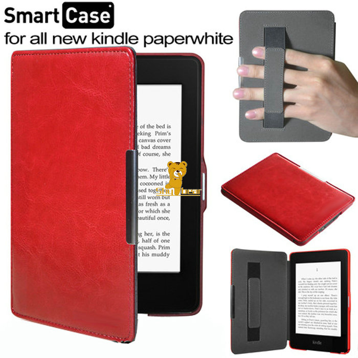 Leather Case Cover funda with hand holder for Amazon kindle paperwhite 1/2/3 (All versions: 2012,2013,2014,new2015)+film+stylus(China (Mainland))