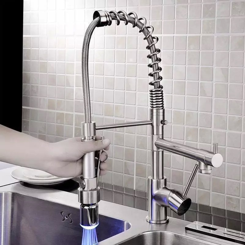 led spring type kitchen faucet kitchen faucet swivel pull