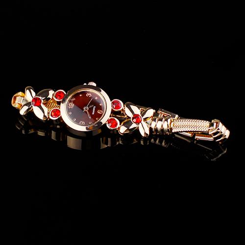 Popular font b Women s b font Girl s Flowers Decoration Rhinestone Bracelet Quartz Wrist Unique