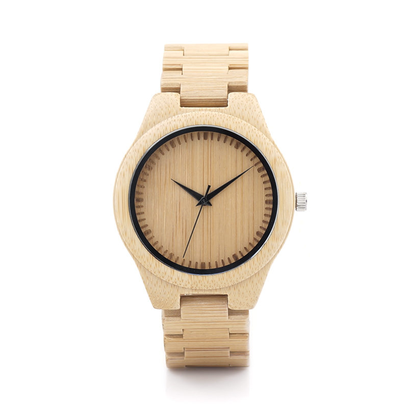 Classic Design Wooden Bamboo Watch Japan Movement Quartz Watches with Soft Bamboo Wood Strap for Men