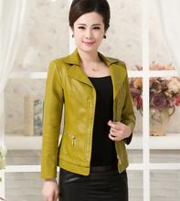 2015 Spring Autumn High -End Middle-Aged Women Short Thin Coats Lapel Long Sleeve Plus Size Slim PU Leather Jacket LW157(China (Mainland))