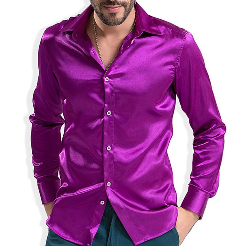 Mens Purple Satin Shirt Promotion Shop For Promotional