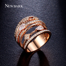 NEWBARK Rings For Women Vintage Multilayer Hollow Wedding Rings Jewelry Rose Gold Plated Cubic Zirconia Stone Anillos Mujer(China (Mainland))