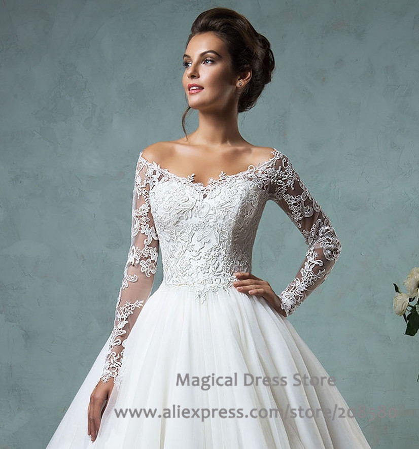 Wedding gowns off the shoulder 2016 christmas lace long sleeve bridal