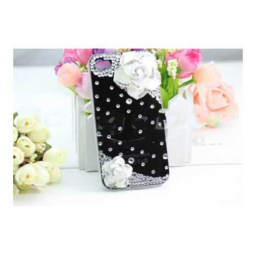 Coconut 3D Camellia Flower Rose Diamond Bling Case For iPhone 4 4S(China (Mainland))