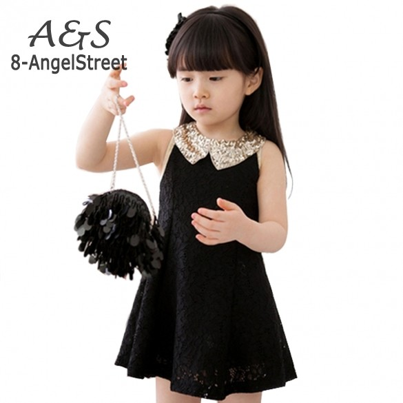 New Fashion 2015 Girls Clothes Tutu Dress Kids Clothing baby girls Dress princess dress Sequins Collar Black White 22(China (Mainland))