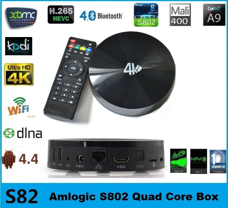 S82 Android 4.4 KitKat 4K Video Play XBMC Kodi Helix Dol-by Bluetooth DDR3 2GB Flash 16GB Quad Core Amlogic S802 Android Tv Box(China (Mainland))