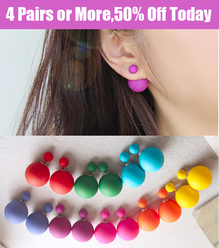 Buy 4 pairs get 50 off Jewelry Accessories Brincos Trendy Pendientes Double Pearl Candy Color Earrings