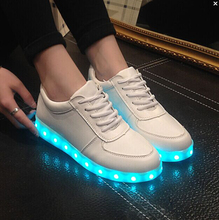 2016 fashion 8 Colors LED Luminous Shoes Unisex Led Shoes Adults Men&Women Glowing Shoes USB Charging Light chaussure lumineuse
