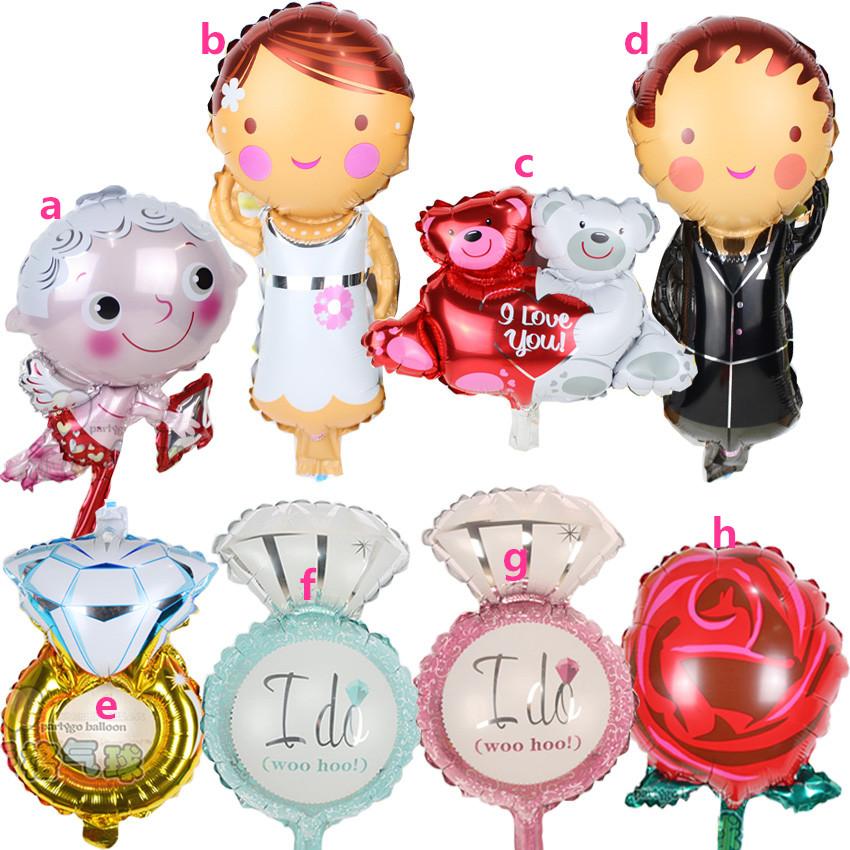 50pcs/lot mini Diamond ring Cupid love bear and rose flower foil balloons happy birthday party decoration globos(China (Mainland))