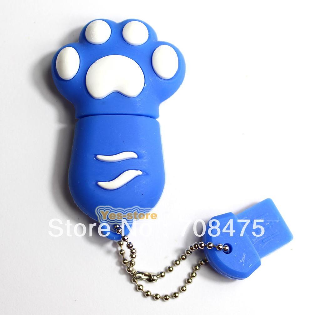 Real Capacity USB Memory Flash Drive 1GB 2GB 4GB 8GB 16GB 32GB cat paw style Blue(China (Mainland))