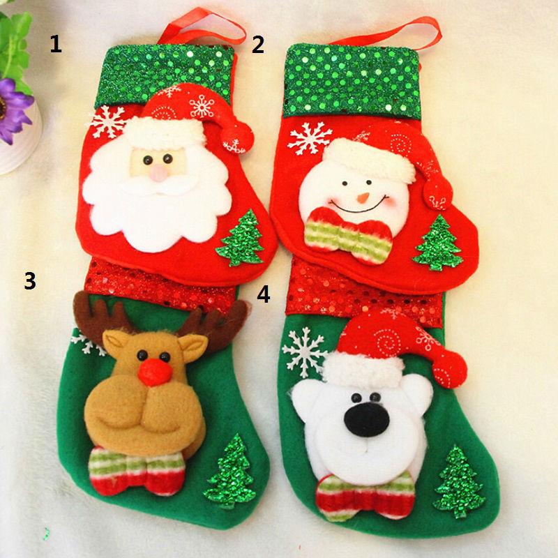 12 Pcs/lot Christmas Stockings Lovely Crafts Children Candy Gift Bag Santa Bag Elk Christmas Grandfather Snowman Decoration Gift(China (Mainland))