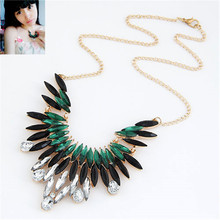 2015 Fashion Rhinestone Necklace Metal Feather Necklace For Women  fashion jewelry wholesale(China (Mainland))