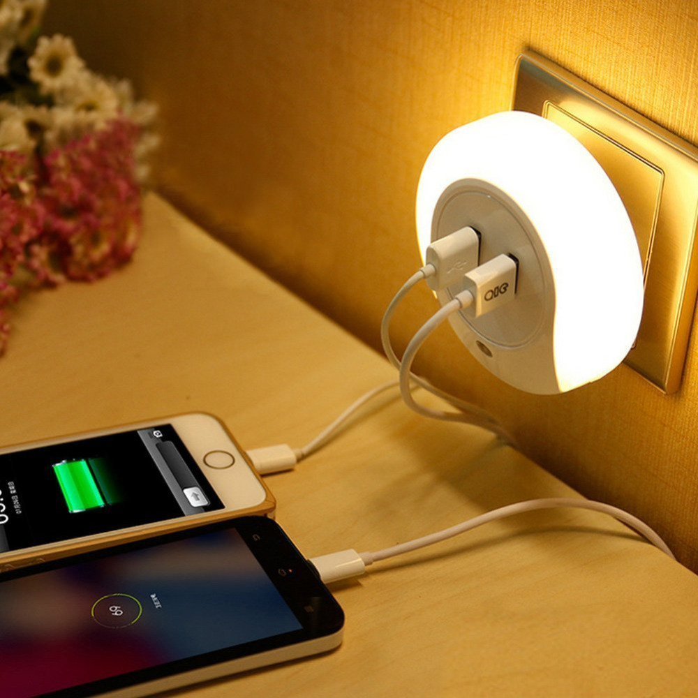 2A Dual USB Port Wall Plate Charger with Smart Design LED Night Light Perfect for Bedroom Bedside EU US Plug YB485/6(China (Mainland))