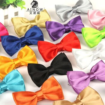 12 cm *6cm Necktie solid silk gold bow tie mens red blue Navy Silver Purple coffee Orange cravat lot