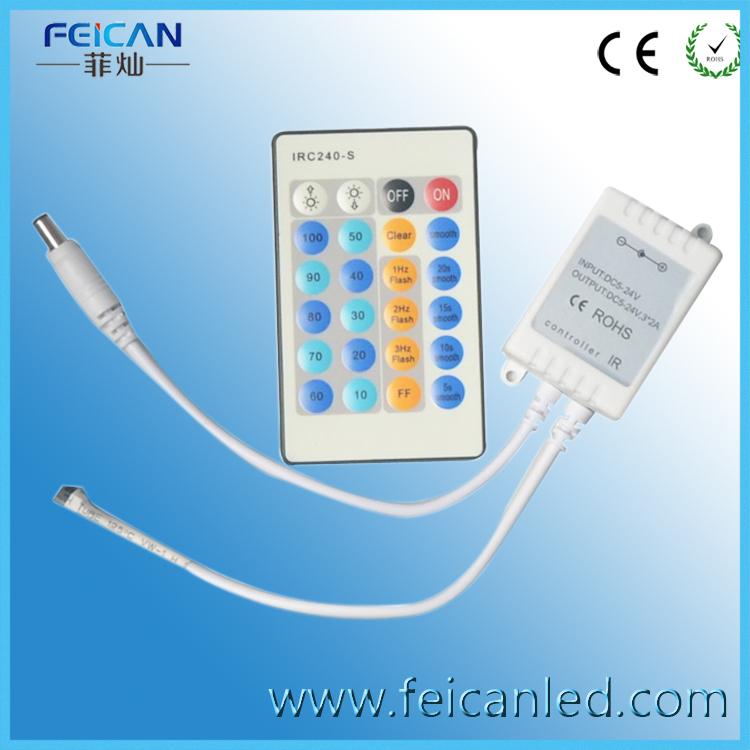 Free Shipping DC12V/24V 72W/144V 24 Key IR Remote Controller For Single Color 3528/5050 LED Strip(China (Mainland))