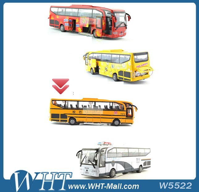 Bus Model with 5 Open-Doors Ultra Long Luxury School Bus Model Toy for Children