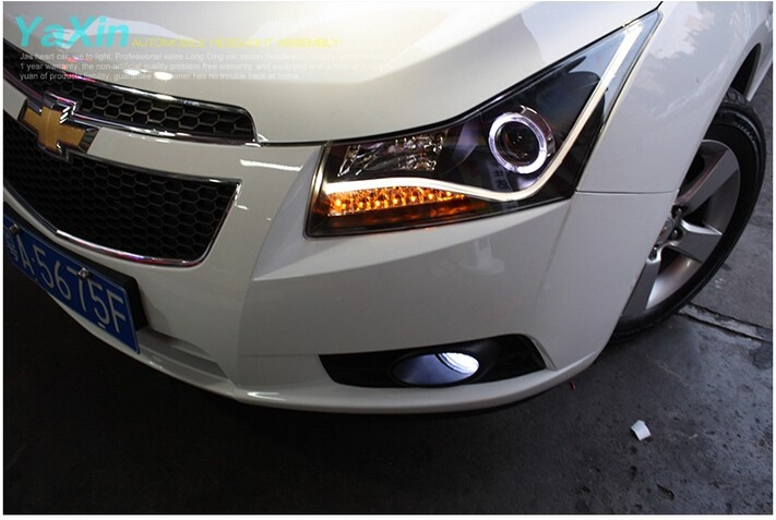 Auto Clud 2009-2014 For Chevrolet cruze xenon headlights led angel eyes DRL LED light bar head lamps Q5 bi xenon lens car stylin