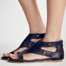 Ücretsiz Kargo Sadece Satış $9.9 Roma Kadın Sandalet Yaz Fermuar rahat ayakkabılar Bayanlar Retro Açık Plaj Düz Sandalet Kayma ayakkabı(China)