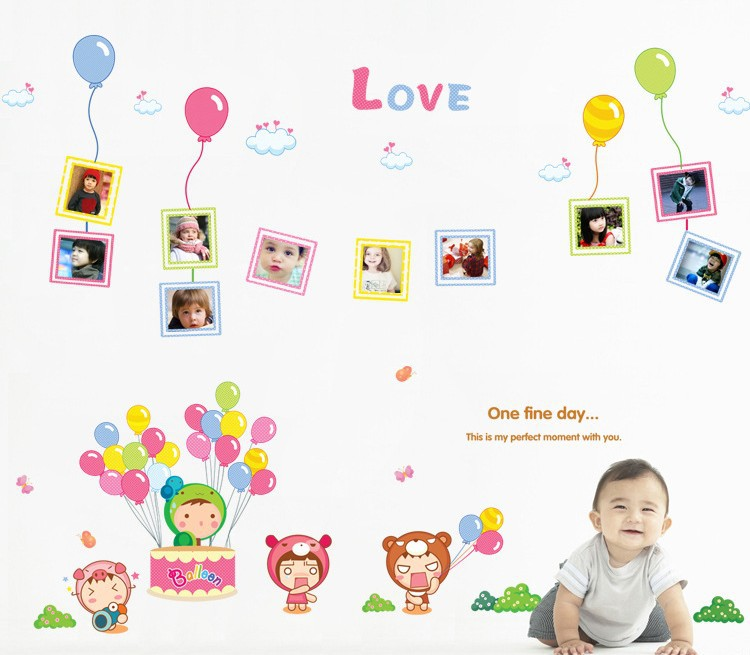 Susie F&H Fine day balloon Photo Frame Vinyl Art wall decals for Nursery and kids room Free shipping 110cm*140cm(China (Mainland))