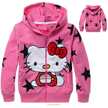 Free shipping 2013 girls new design kitty cat artwork girl's outerwear ,long sleeves coat ,  children outerwear item# 7802