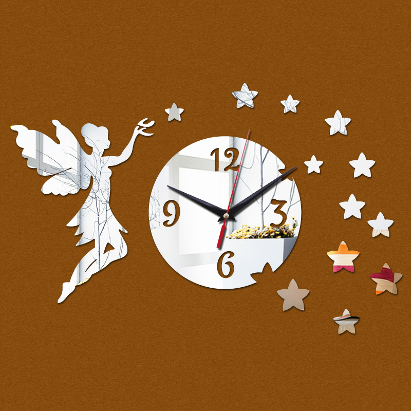 top fashion 2016 Acrylic Quartz wall clocks reloj de pared new novelty big angel mirror art clock safe home decoration style - DIY Time Life store