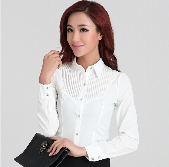 Elegant Women Career White Shirts Size S 2XL Long Sleeve ...