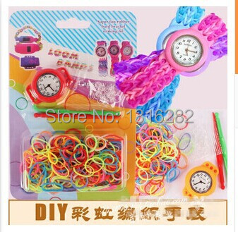 Kids Rainbow Puzzle Rubber Band Clip Hook Kit Loom Bracelet DIY Craft Watch 20PCS/LOT(China (Mainland))