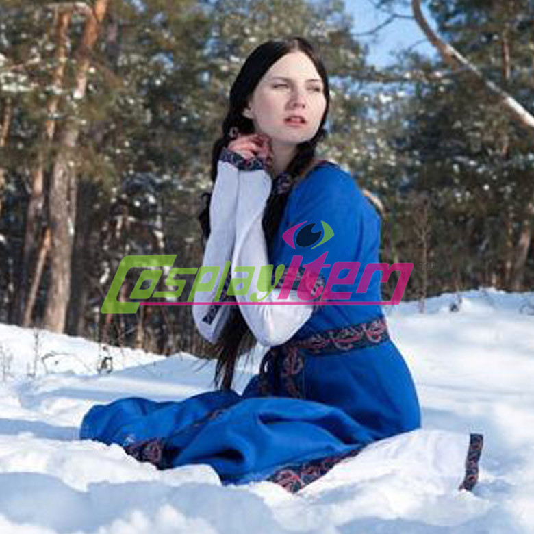 Customized tailored blue white Vintage Central Europe Traditional Clothing Medieval Southern Belle dress grown Cosplay CostumeОдежда и ак�е��уары<br><br><br>Aliexpress