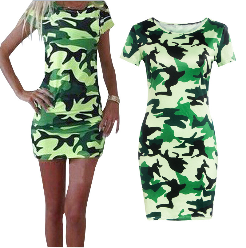 Best Buy Women's Shit Dress Camouflage Green O-neck 2016 Summer Robe de Fashion(China (Mainland))