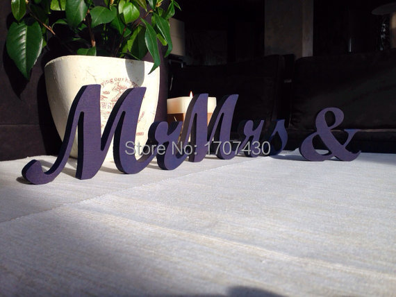 Head table Mr & Mrs sign painted in Royal Blue. Wedding decoration. Mr and Mrs wooden letters height:12cm(China (Mainland))