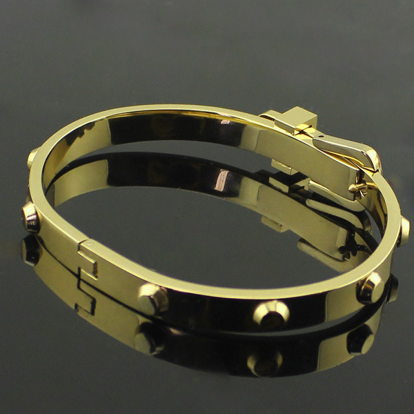 Titanium steel Luxury brand bangles yellow gold rivet screw bracelets & bangles special adjustable buckle bangle with all nails