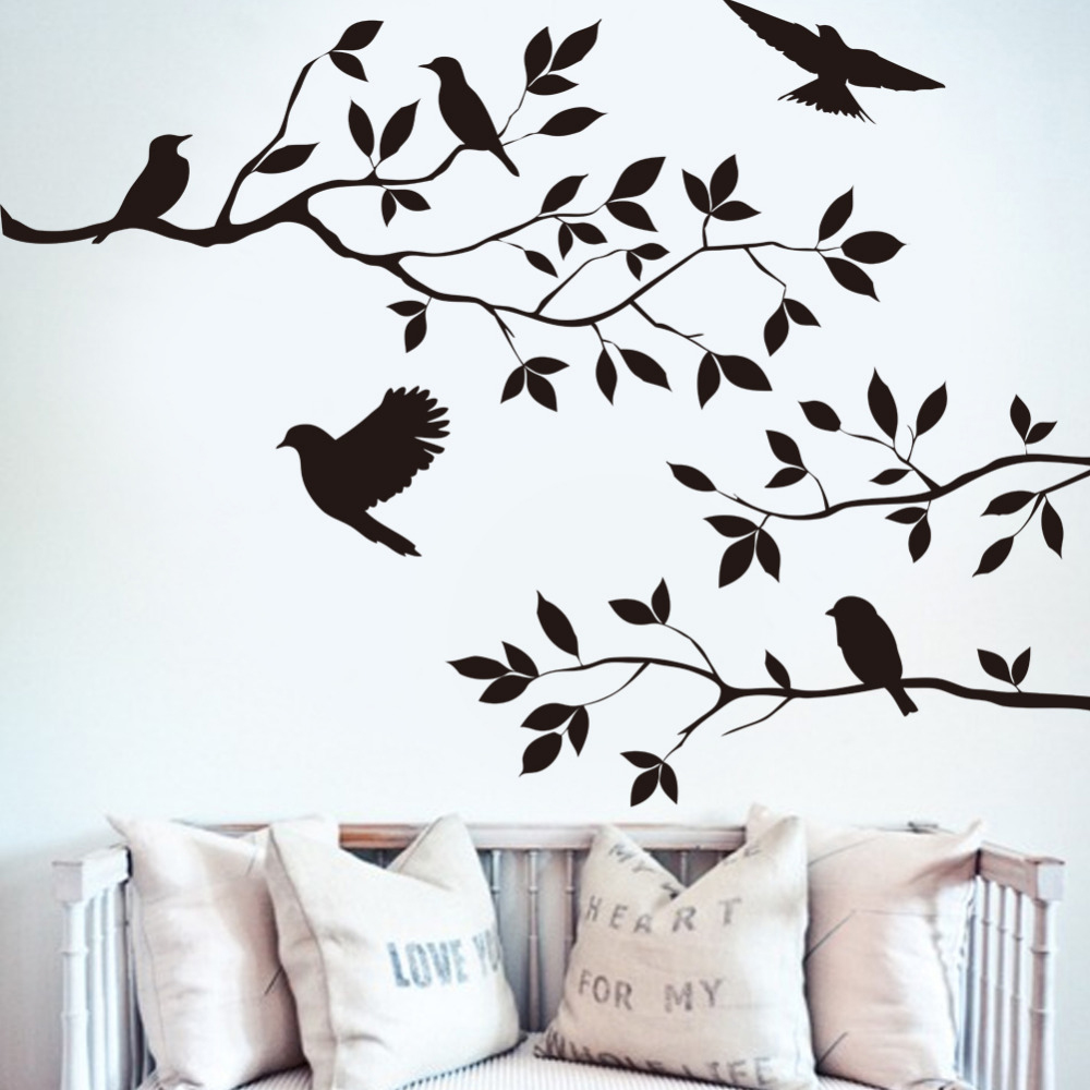 Black Bird Tree Branch Monster Wall Paper Decals Removable Art Vintage kitchen Wall Sticker Home Decoration Flying Birds Decals(China (Mainland))