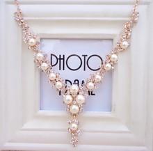 Fashion Rhinestone Imitation Pearl Gold Plated Charm Jewelry statement necklace bijoux choker necklace collares mujer bijoux