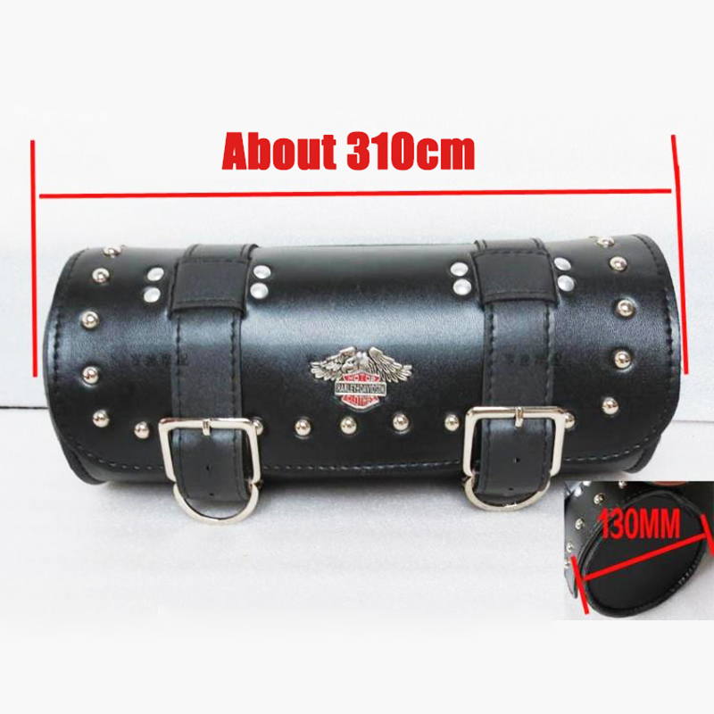 Free shipping!New Motorcycle Cruiser Tool Bag motorbike Luggage bag Scooter Pouch Saddle bags Round Barrel genuine leather black(China (Mainland))