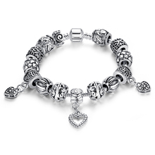 Antique Silver Heart Bead Charm Bracelet Compatible with Pandora Bracelet Silver 925 for Women Authentic Jewelry A1431(China (Mainland))