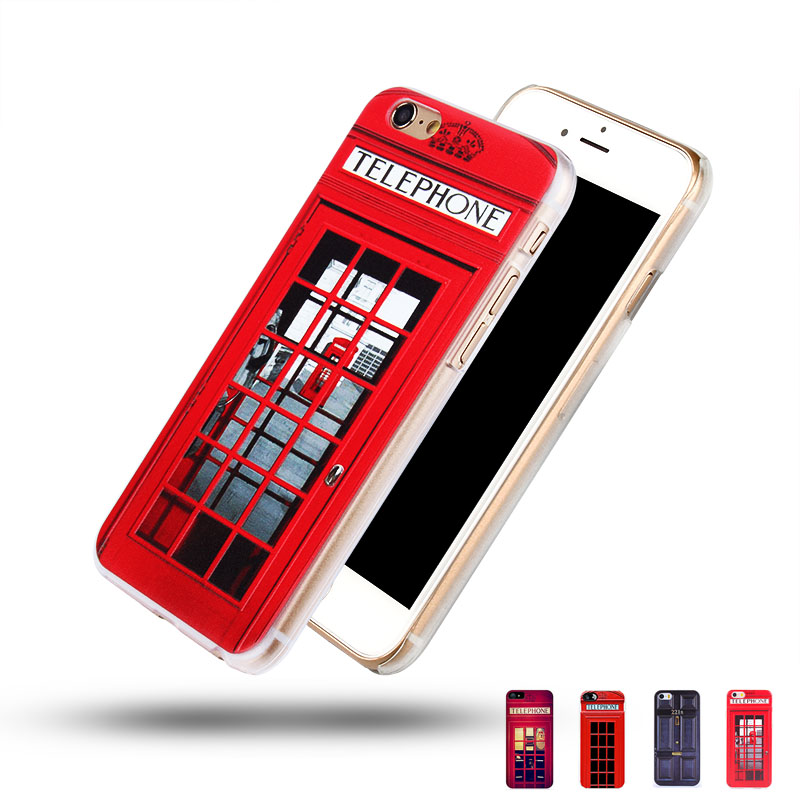 For iphone 4s 5s 6 6 plus 3D Hard Case, Sherlock Holmes and John Watson in Door 221B Design, London Old Fashion Telephone Booth(China (Mainland))