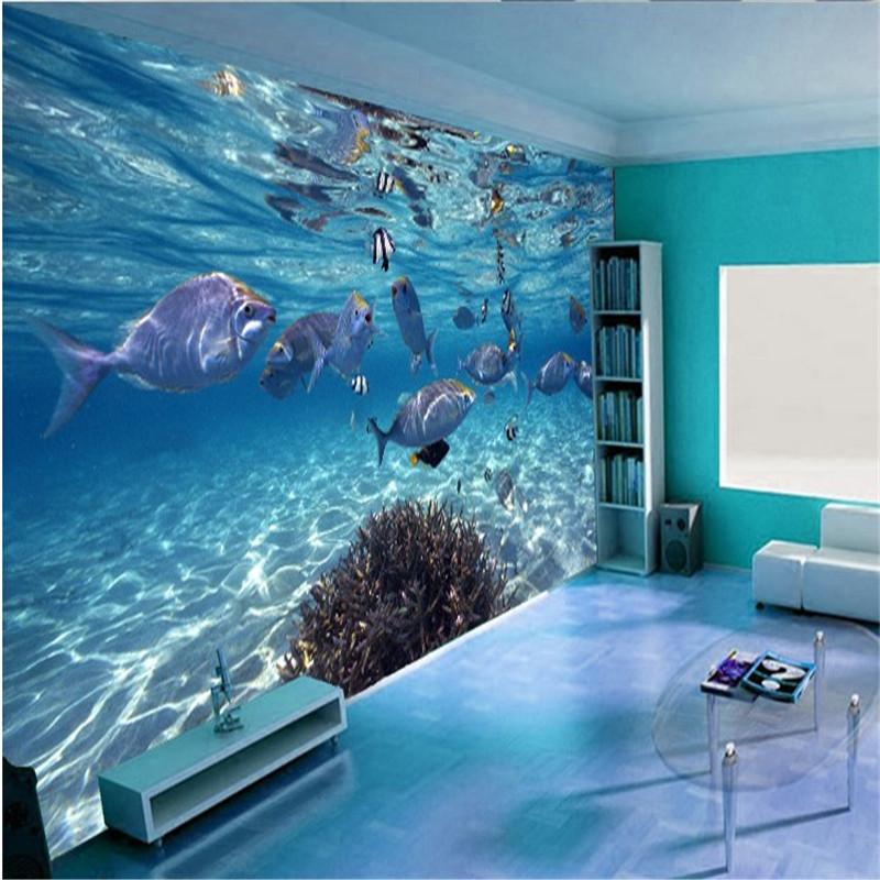 Custom photo wallpaper 3D stereo underwater world of marine fish living children's room TV background 3d mural wallpaper(China (Mainland))