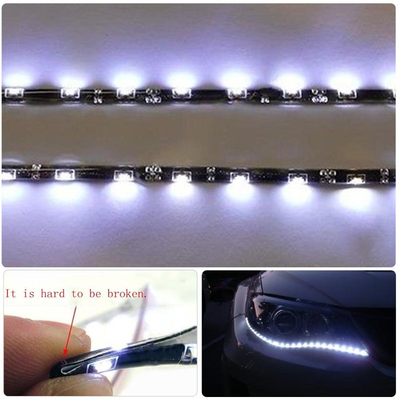 "High quality !!! 8W 30 LEDs WHITE 2X 12""(30cm) 15 SMD HID FOG DRL HEAD SLIM flexible XENON SIDE SHINE STRIP(China (Mainland))"