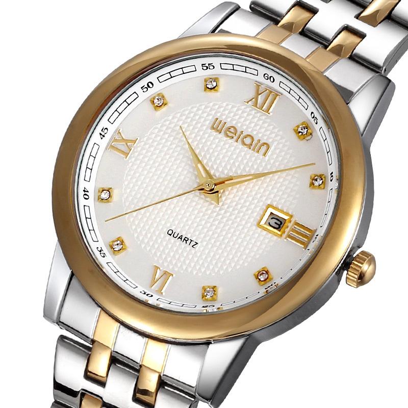 The new hot, WEIQIN gold shell Roman numerals men quartz watch, Set auger calendar watch, Diamond belt between business table(China (Mainland))