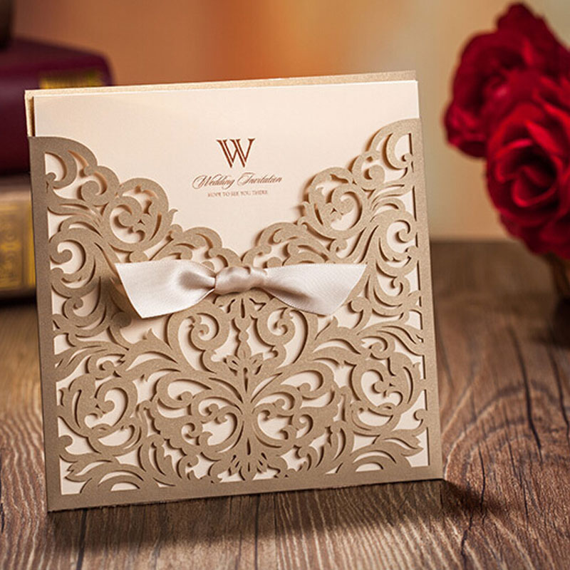 150X150mm Wedding Invitations Laser Cutting Invitation Card for Wedding Gold Paper Hollow Birthday Invitation With Envelope(China (Mainland))