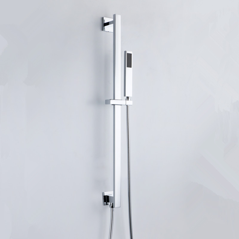 High Quality Wall mounting Square Style Shower Rail Shower Elbow Brass Hand Shower Hose Sliding Bar(China (Mainland))