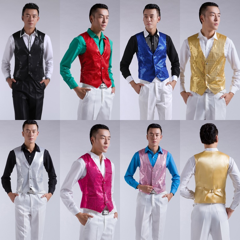 Men show shiny blue-black and silver piece pink rose yellow vest vest jacket waistcoat men mens suit and vest suit vest NM01(China (Mainland))