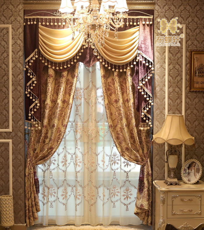 High end european style retro palace garden double for High end curtains and window treatments