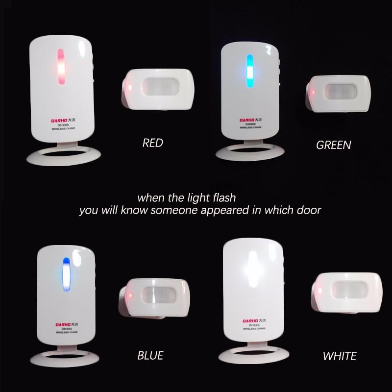 DARHO Welcome Device Door Alarm Welcome Chime Wireless Infrared IR Signal Motion Sensor Door Bell Alarm Entry Doorbell Alarm Sir
