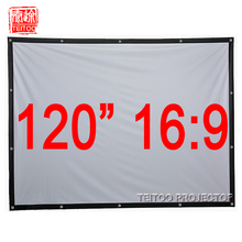 120 Inches 16:9 White Portable Folding Projection Screen for HD Movie Projector,Rear Film Proyeccion Pelicula Curtain Cortinas(China (Mainland))